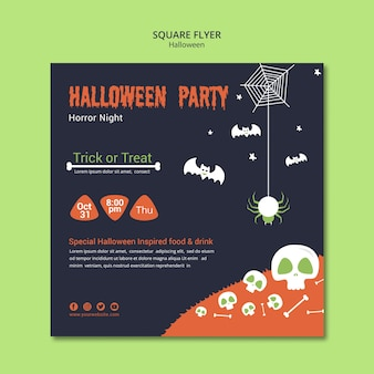 Halloween party with skulls and bones square flyer