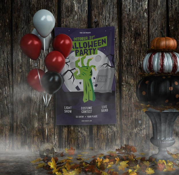 Halloween party zombie hand poster with balloons