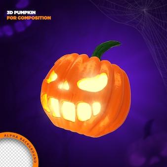 Хэллоуин тыква 3d визуализации для композиции