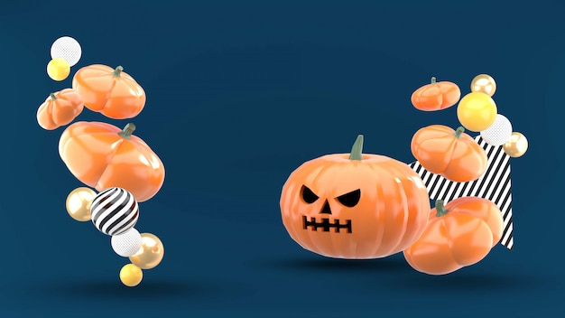Halloween pumpkins floating on the blue