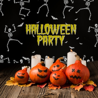 Halloween pumpkins and light candles