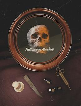 두개골과 오래 된 패션 의학 장비와 할로윈 라운드 프레임
