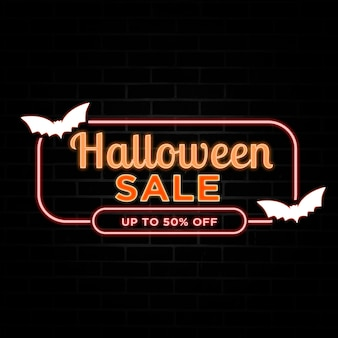 Halloween sale discount with neon style.