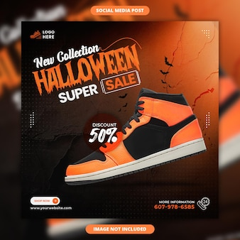 Halloween sale social media and instagram post template
