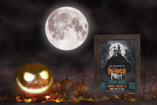 Halloween season arrangement with horror movie poster mock-up