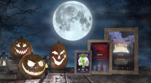 Halloween season arrangement with horror movie posters mock-up