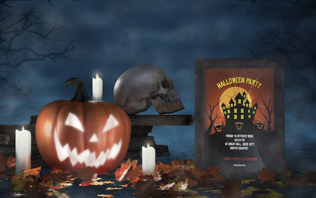 Halloween season arrangement with skull and horror movie poster mock-up