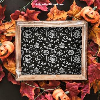 Halloween slate mockup on autumn leaves