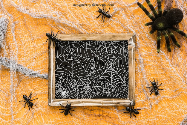 Halloween slate mockup with ants and spider