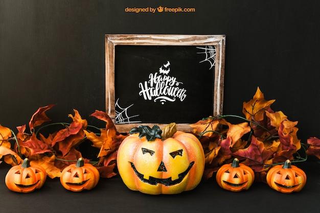 Halloween slate mockup with five pumpkins