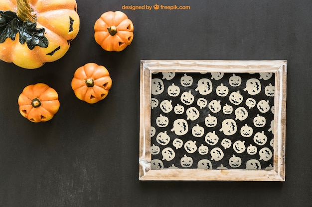Halloween slate mockup with four pumpkins