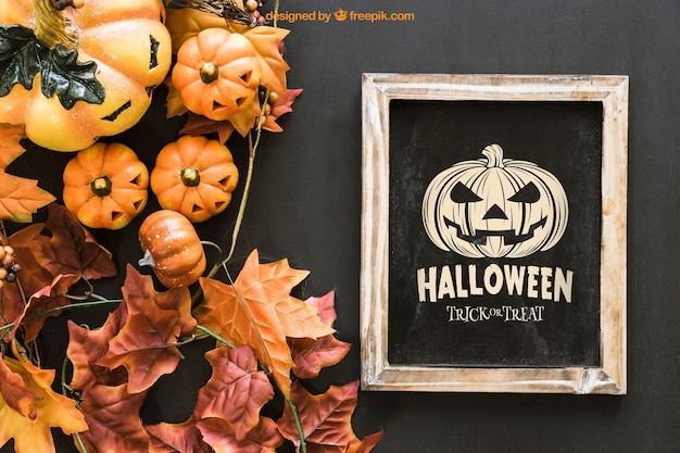 Halloween slate mockup with leaves and pumpkins