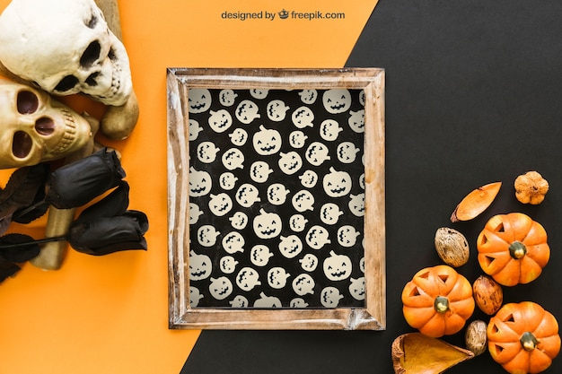 Halloween slate mockup with skulls and black roses