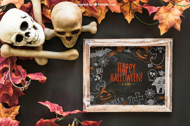 Halloween slate mockup with skulls and bones