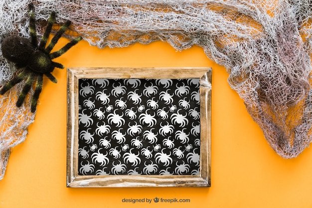 Halloween slate mockup with spider and web