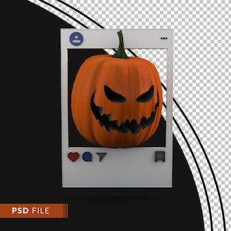 Пост в социальных сетях на хэллоуин с 3d render