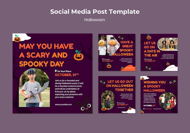 Set di post sui social media di halloween