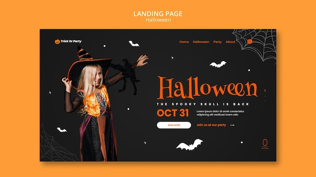 Halloween spooky skull landing page
