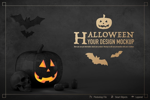 Halloween still life mockup isolated on black color background