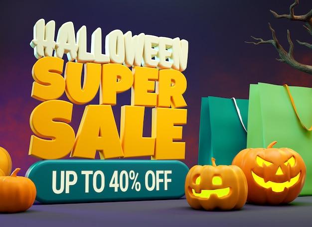 Макет супер распродажи на хэллоуин с тыквами и хозяйственными сумками в 3d-рендеринге