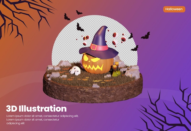 Halloween theme 3d rendering illustration with pumpkin wearing a hat