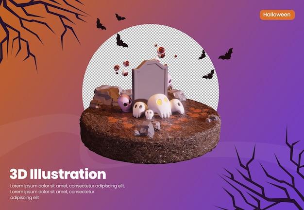 Хэллоуин тема 3d-рендеринга иллюстрация с черепом и милым призраком