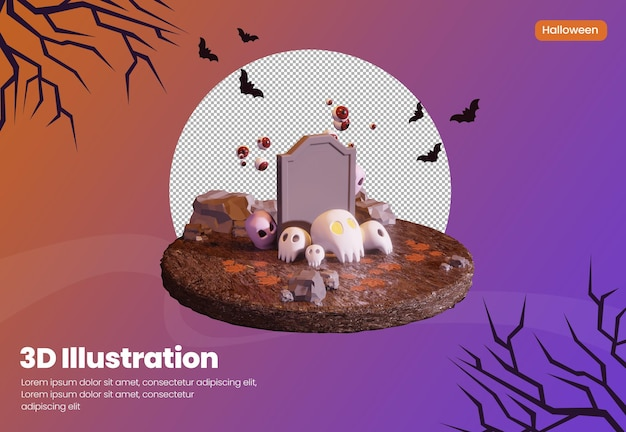 Halloween theme 3d rendering illustration with skull and cute ghost