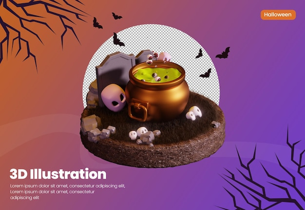 Halloween theme 3d rendering illustration with spooky potion in witch pot