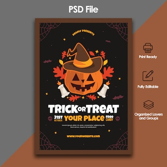Halloween trick or treat flyer template