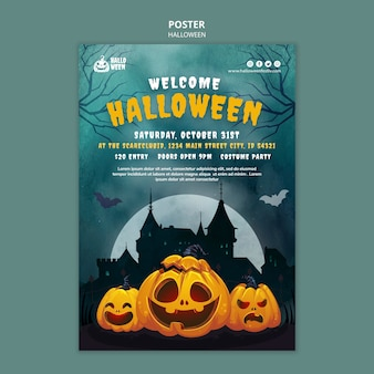 Halloween vertical print template with pumpkin