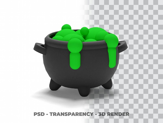 Хэллоуин ведьма котел 3d моделирование с прозрачным фоном