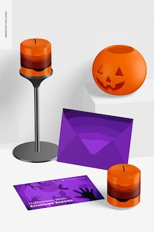 Хэллоуин с макетом сцены конверта, перспектива