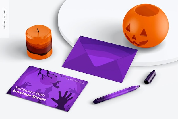 Halloween with envelope scene mockup, on surface