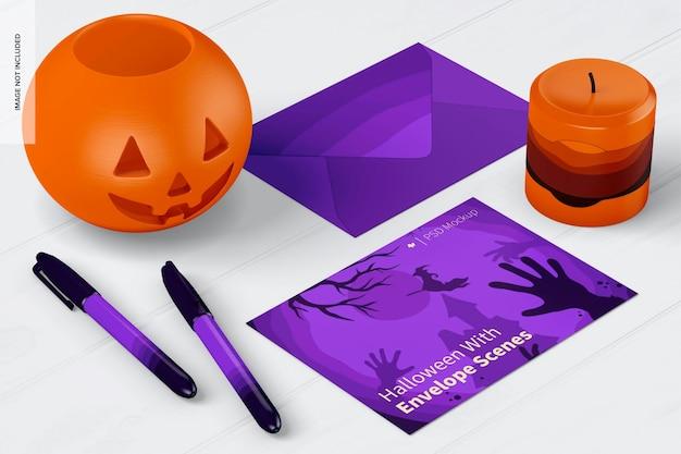 Хэллоуин с макетом сцены конверта