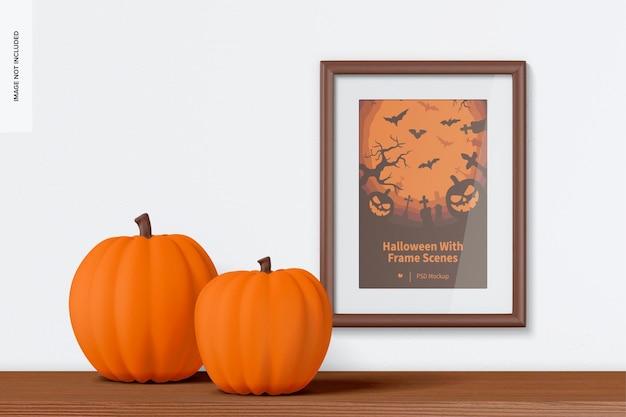 Mockup di scena di halloween con cornice sul muro