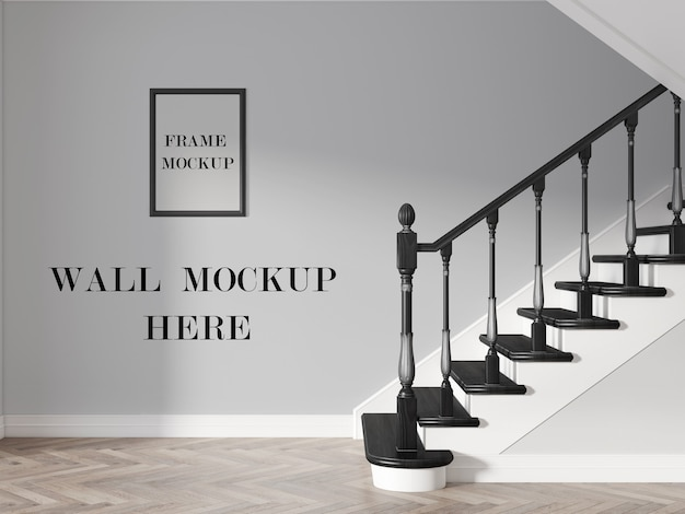 Hallway wall and picture frame mockup with wood stairway in interior