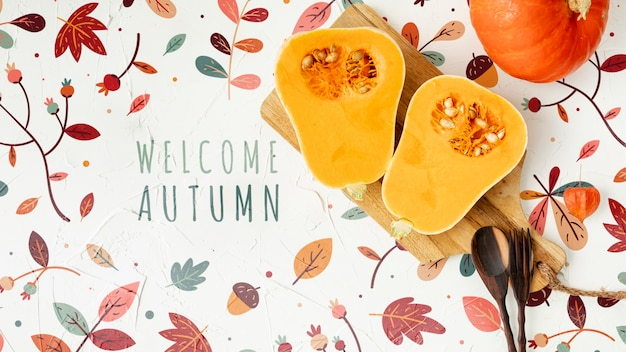Halves of squash pumpkin with welcome autumn