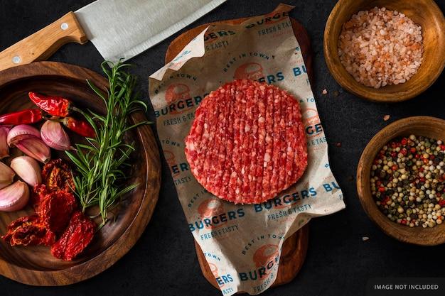 Hamburger raw meat wrapping paper mockup