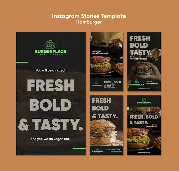 Hamburger restaurant instagram stories template