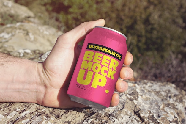 Hand beer can travel mockup