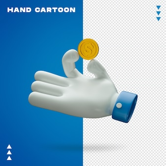 Hand cartoon in 3d rendering isolated