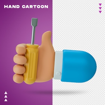 Hand cartoon 3d rendering isolated