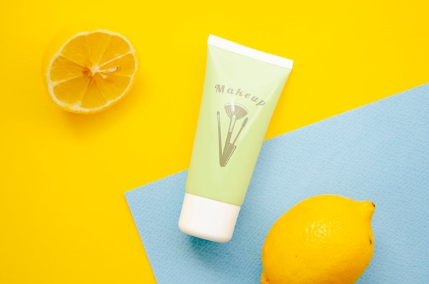 Hand cream bottle mock-up on bicolor background