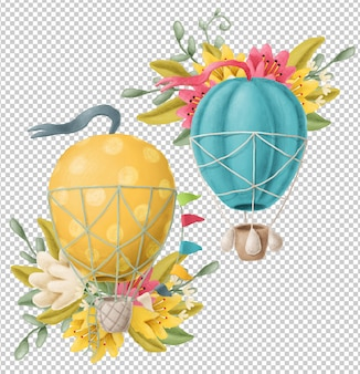 Hand drawn air balloons with flowers
