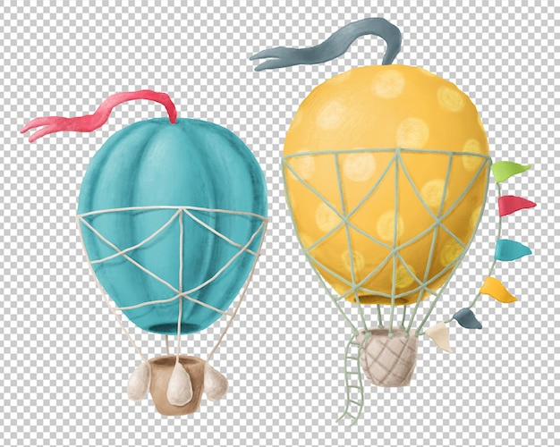 Hand drawn air balloons