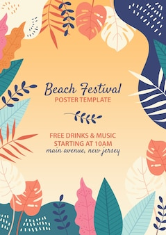 Hand drawn beach festival template
