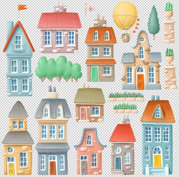 Hand drawn buildings clipart collection