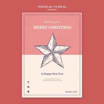 Ручной обращается рождественский плакат шаблон