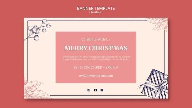Ручной обращается рождественский шаблон баннера