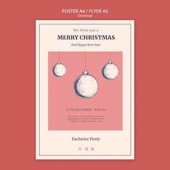 Ручной обращается рождественский шаблон плаката